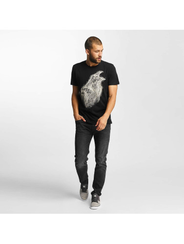 Solid Hombres Camiseta Jamse in negro