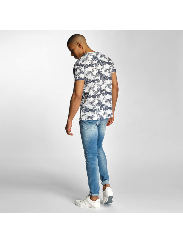 Solid Herren T-Shirt Flowers in blau
