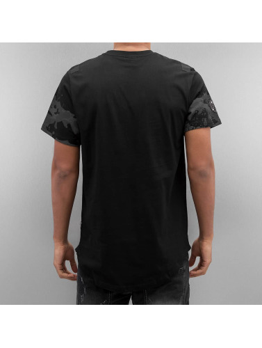 Southpole Hombres Camiseta Scallop Patch And Print in negro