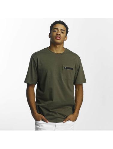Southpole Hombres Camiseta Zip in oliva