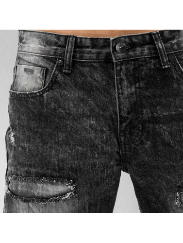 Southpole Hombres Jeans ajustado Ripped Slim in negro