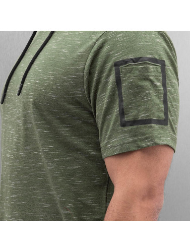 Southpole Herren T-Shirt Slub Scallop Hoody in olive