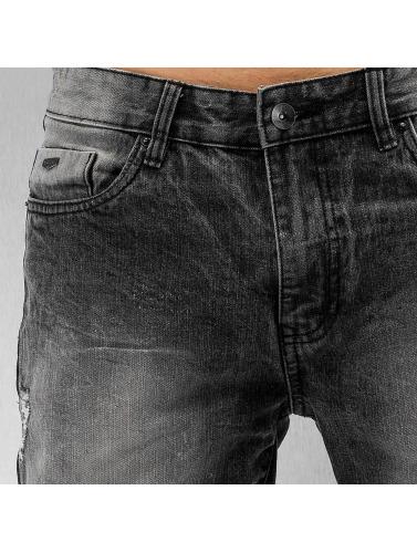 Southpole Hombres Vaqueros rectos Ripped Slim in negro