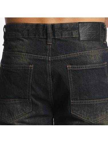 Southpole Hombres Vaqueros rectos Slim in negro