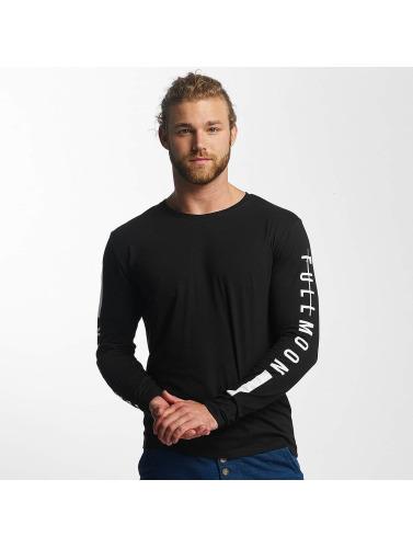 Sublevel Hombres Camiseta de manga larga Fullmoon Semilunar in negro