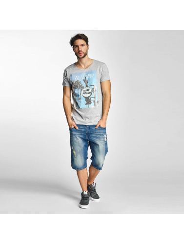 Sublevel Hombres Camiseta Surf Beach in gris