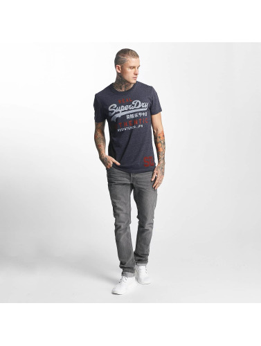 Superdry Hombres Camiseta Vintage Authentic Duo in azul
