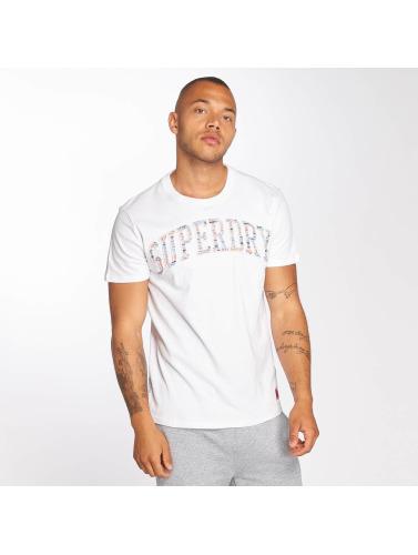 Superdry Hombres Camiseta Varsity in blanco