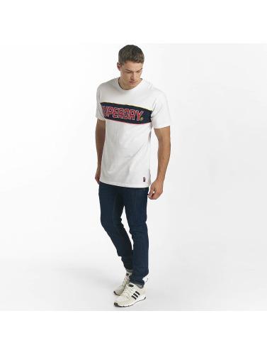 Superdry Hombres Camiseta Retro Stripe Box Fit in blanco