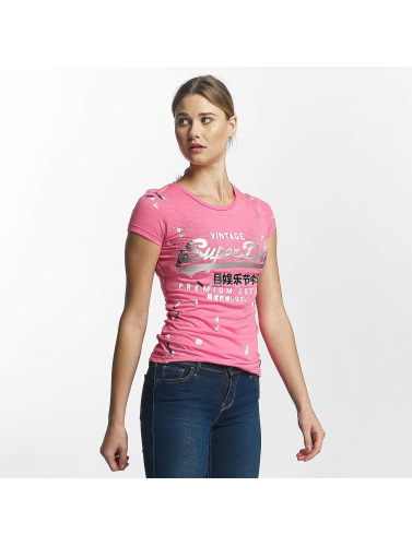 Superdry Damen T-Shirt Premium Goods Doodle Entry in pink