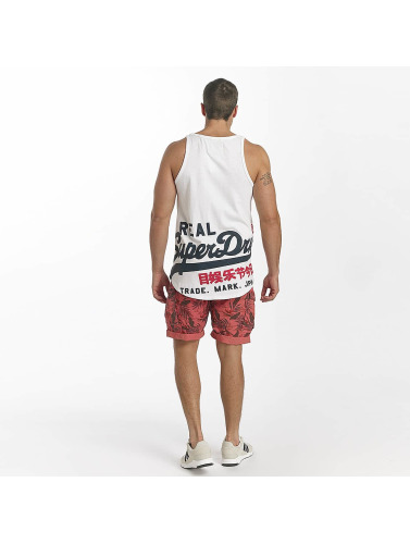 Superdry Hombres Tank Tops Vintage Logo Long Line in blanco