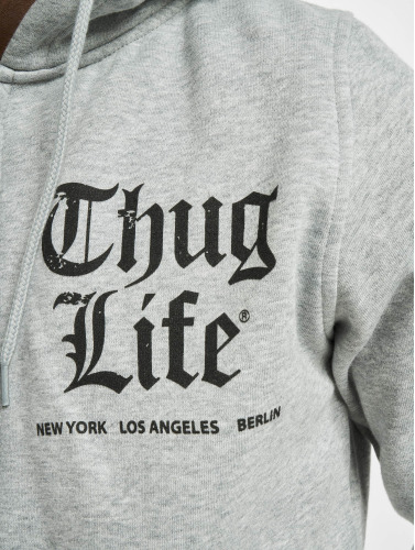 Thug Life Basic Herren Zip Hoodie Chest Cities in grau