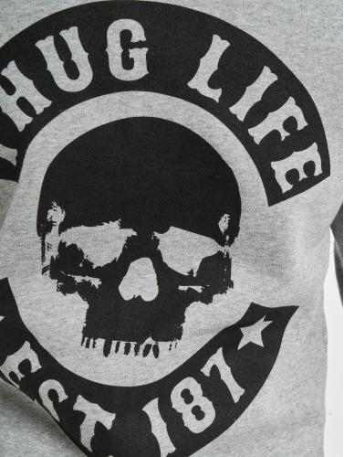 Thug Life Basic Herren Zip Hoodie Skull in grau