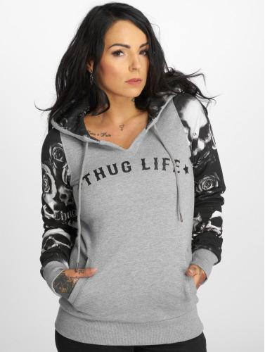 Thug Life Damen Hoody Skullpattern in grau
