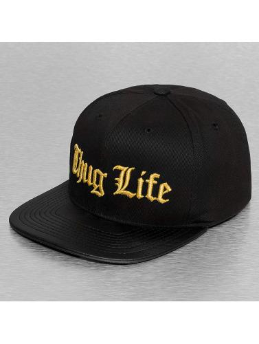 Thug Life Snapback Cap Golden Logo in schwarz