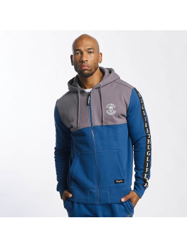 Thug Life Herren Zip Hoodie Wired in blau
