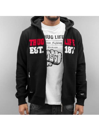 Thug Life Herren Zip Hoodie Est 187 in schwarz