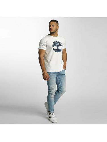 Timberland Hombres Camiseta Dustan River Camo Print Brand in blanco