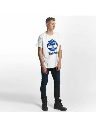 Timberland Hombres Camiseta Linear Basic Stacked in blanco