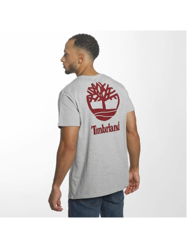 Timberland Hombres Camiseta Stacked Logo in gris