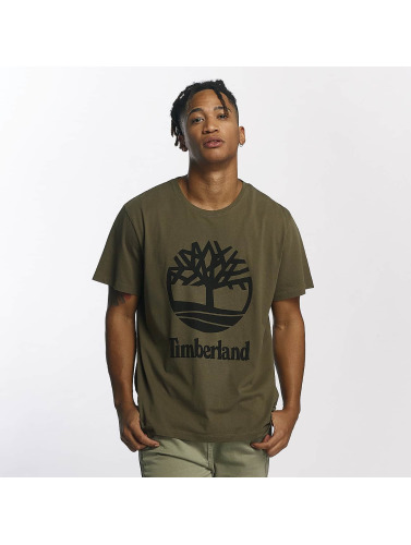 Timberland Hombres Camiseta Linear Basic Stacked in oliva