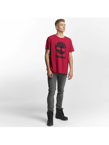 Timberland Hombres Camiseta Linear Basic Stacked in rojo