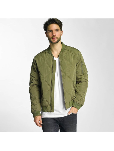 Urban Classics Herren Bomberjacke Big Diamond Quilt in olive
