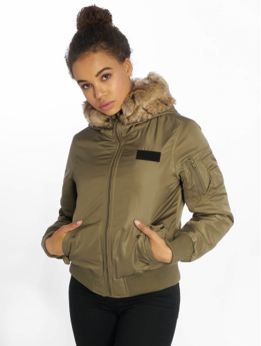 Urban Classics Damen Bomberjacke Imitation Fur in olive