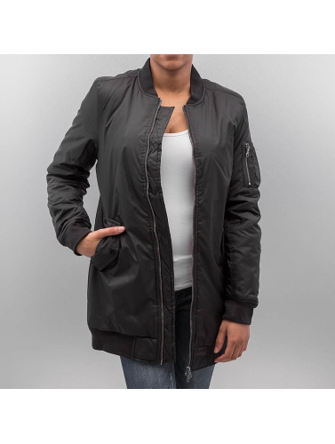 Urban Classics Damen Bomberjacke Long in schwarz