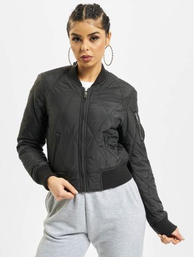 Urban Classics Damen Bomberjacke Diamond Quilt Short in schwarz