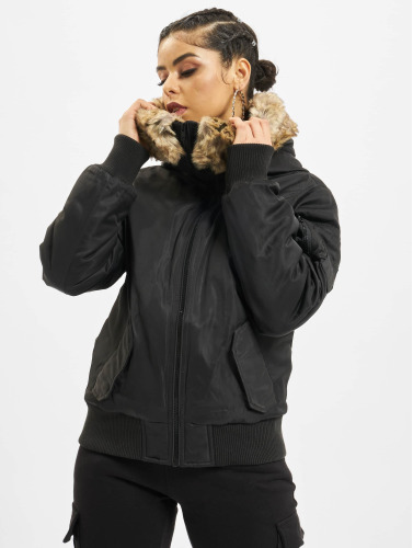 Urban Classics Damen Bomberjacke Imitation Fur in schwarz