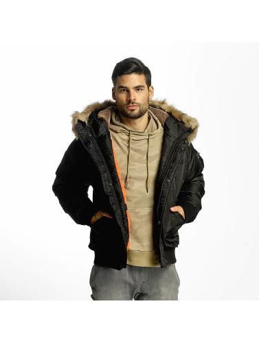 Urban Classics Herren Bomberjacke Hooded Heavy Fake Fur Bomber in schwarz