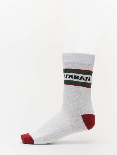 Urban Classics Calcetines 2-Pack Logo Stripe Sport in blanco