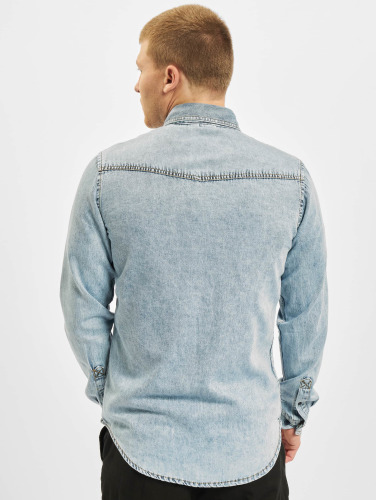 Urban Classics Hombres Camisa Denim Pocket in azul