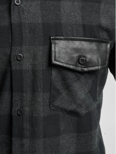 Urban Classics Hombres Camisa Side Zip Leather Shoulder Flanell in negro