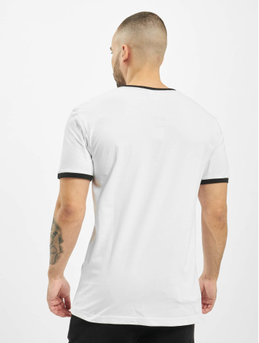 Urban Classics Hombres Camiseta Ringer in blanco