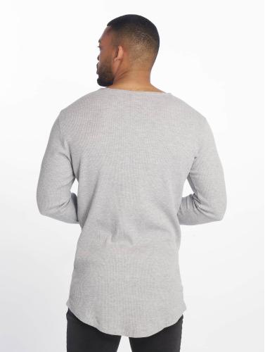 Urban Classics Hombres Camiseta de manga larga Long Shaped Waffle in gris