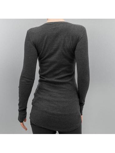 Urban Classics Mujeres Camiseta de manga larga Long Rib Pocket Turnup in gris