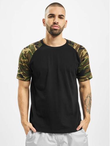 Urban Classics Hombres Camiseta Raglan Contrast in negro