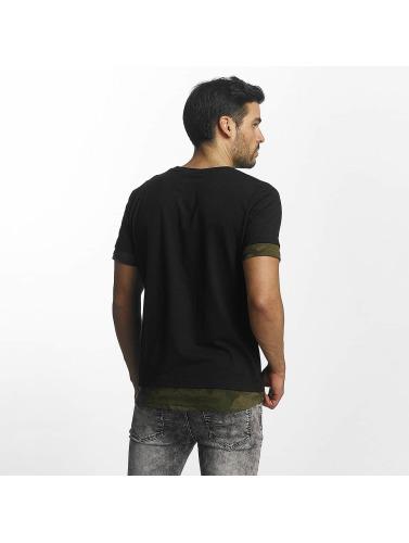 Urban Classics Hombres Camiseta Long Shaped Camo Inset in negro