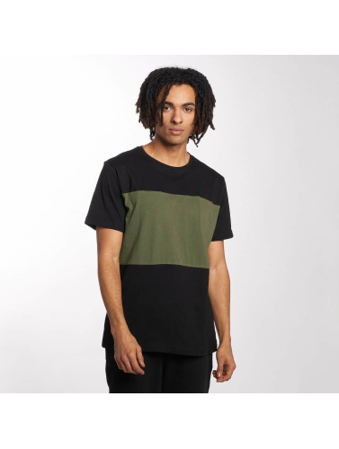 Urban Classics Hombres Camiseta Contrast Panel in negro