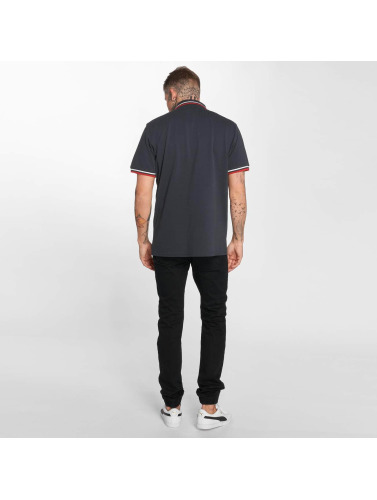 Urban Classics Hombres Camiseta polo Classics Double Stripe in azul
