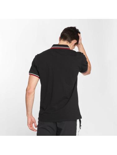 Urban Classics Hombres Camiseta polo Double Stripe in negro