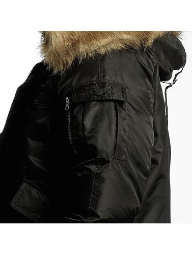 Urban Classics Hombres Cazadora bomber Hooded Heavy Fake Fur Bomber in negro