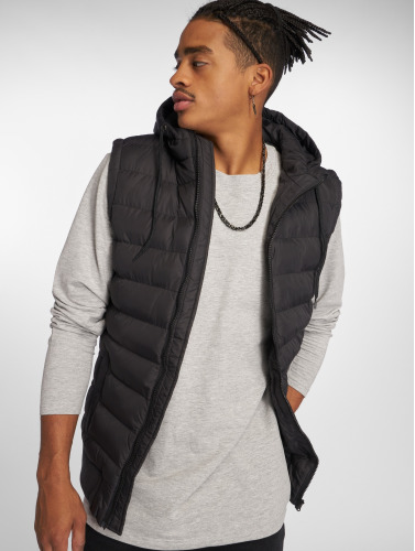 Urban Classics Hombres Chaleco Small Bubble Hooded in negro