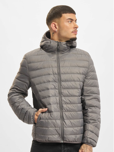 Urban Classics Hombres Chaqueta de entretiempo Basic Hooded Down in gris