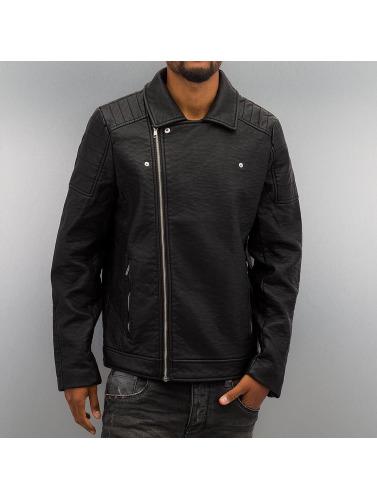 Urban Classics Hombres Chaqueta de entretiempo Leather Imitation Biker in negro