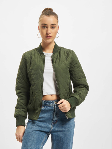 Urban Classics Damen College Jacke Diamond Quilt Nylon in olive