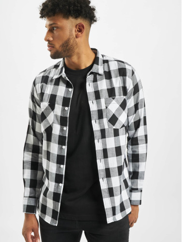 Urban Classics Herren Hemd Checked Flanell in weiß