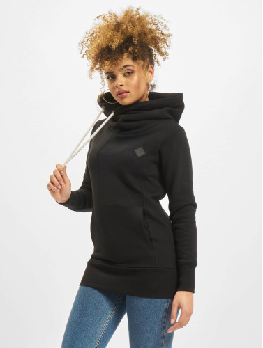 Urban Classics Damen Hoody Long Logopatch in schwarz